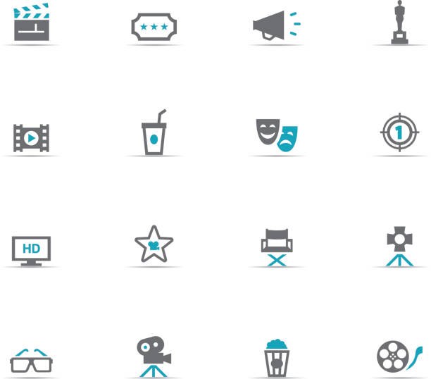 icon set, cinema - oscars stock illustrations, clip art, cartoons, & icons