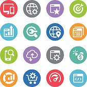 Set of 16 SEO simple vector icons placed on colorful circles. Easy resize. There are icons: Web Page, Cloud Computing, Seo Service, Research, Coding, Speedometer, Magnifuing Glass, Globe, Pay Per Click ...