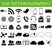 Icon Set Communication I with 35 icons for different purchase