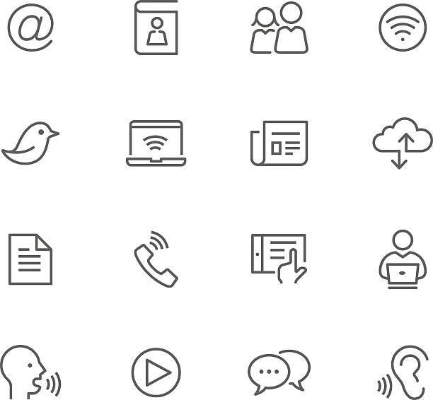 illustrazioni stock, clip art, cartoni animati e icone di tendenza di set di icone di comunicazione - ear talking