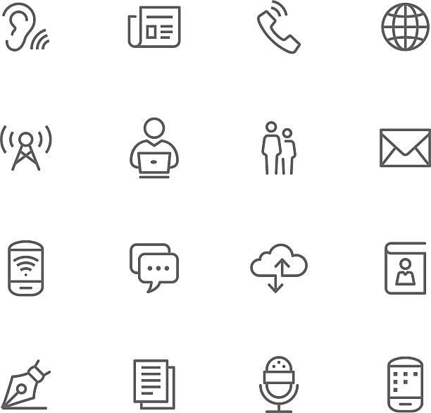 illustrazioni stock, clip art, cartoni animati e icone di tendenza di icona set, comunication - ear talking