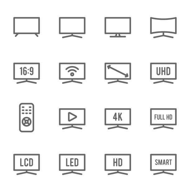TV Icon Set. Contains such Icons as Monitor, Full HD, LCD, LED, 4K, HD and more. Expanded Stroke TV Icon Set. Contains such Icons as Monitor, Full HD, LCD, LED, 4K, HD and more. Expanded Stroke television set stock illustrations