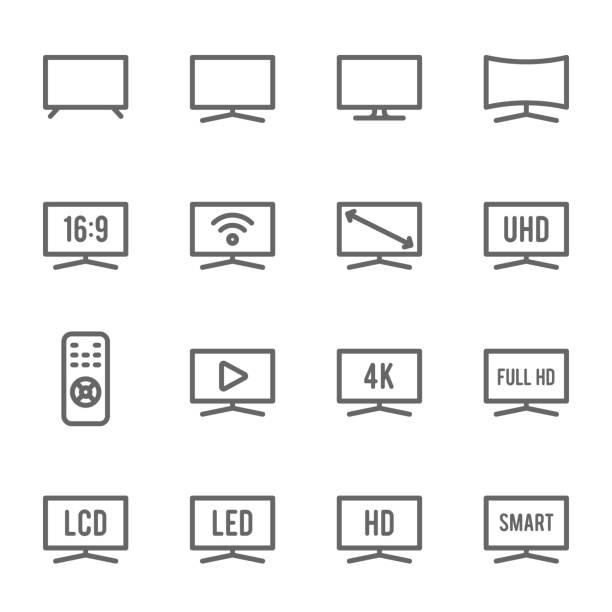 tv icon set. enthält icons wie monitor, full hd, lcd, led, 4k, hd und mehr. ausgedehnten stroke - bildschirme stock-grafiken, -clipart, -cartoons und -symbole
