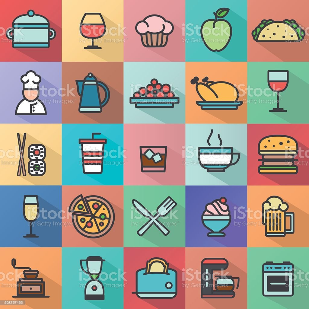 Icon set, cooking and kitchen royalty-free stock vector art