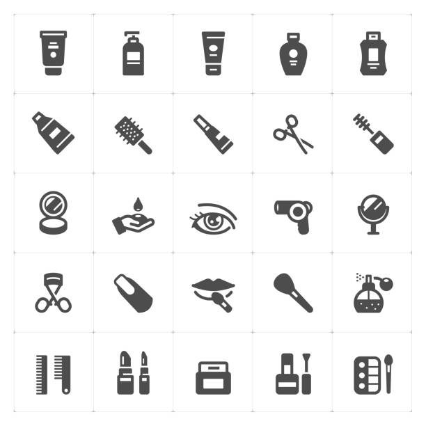 icon set - cosmetic filled icon style vector illustration on white background - kiss stock illustrations