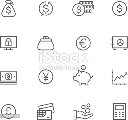 Icon Set, Currency things on white background, made in adobe Illustrator (vector)