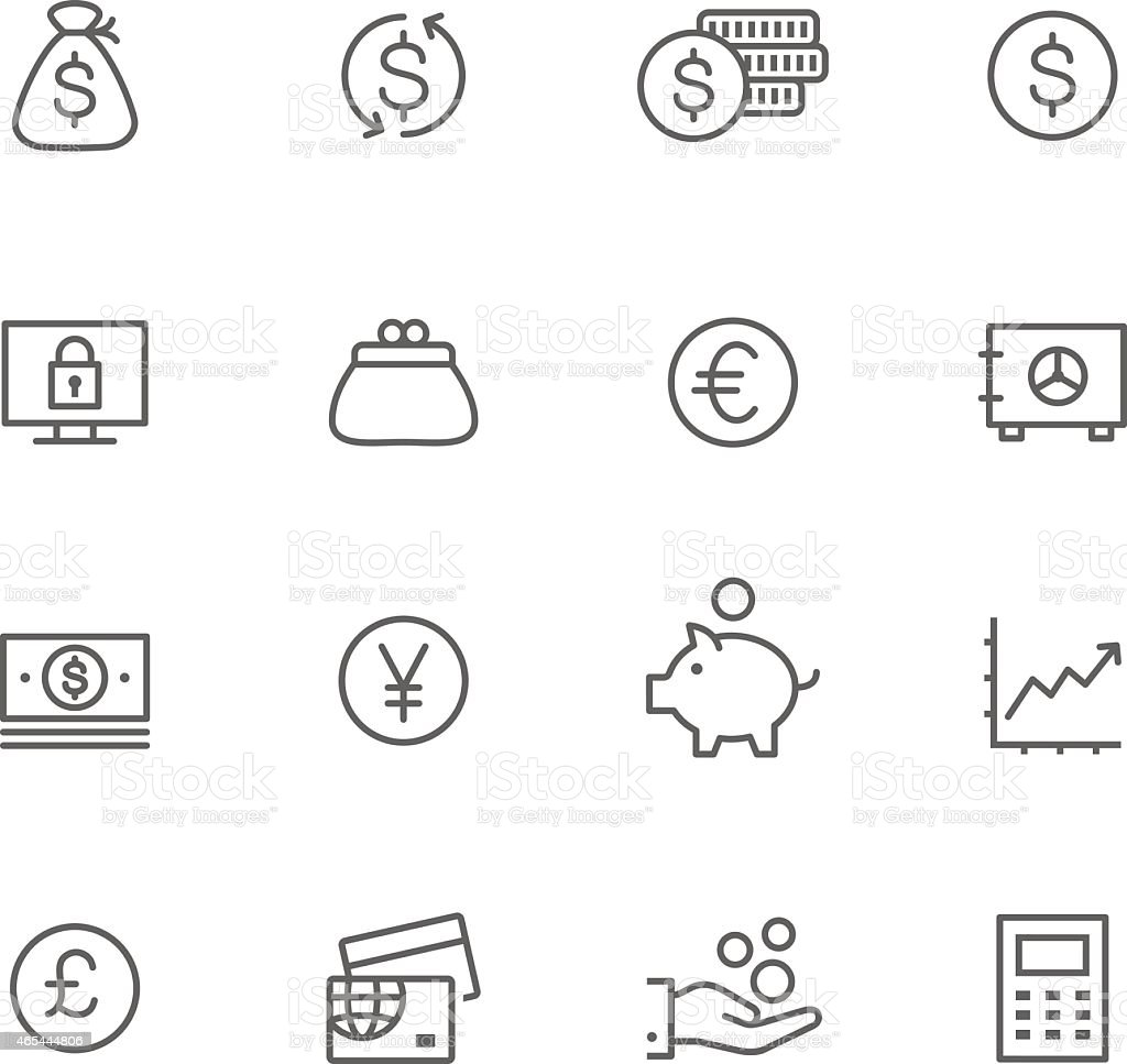 Icon Set, Currency vector art illustration