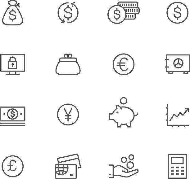 Icon Set, Currency Icon Set, Currency things on white background, made in adobe Illustrator (vector) change purse stock illustrations