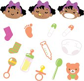 Cute style vector icons - Cute Babies Emoticons and Baby Goods.