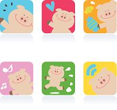Cute style vector icons - Cute Pig.