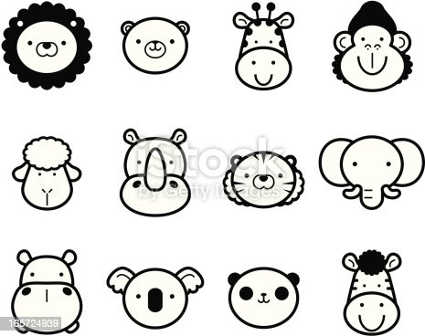 Vector illustration – Icon Set: Cute Zoo Animals in black and white.