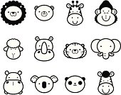 Icon Set: Cute Zoo Animals in black and white