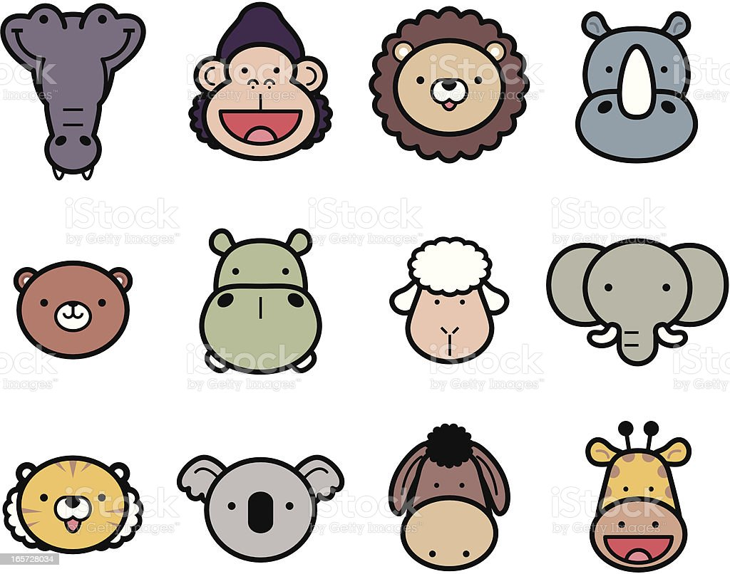 Icon Set: Cute Zoo Animals in color