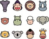 Vector illustration – Icon Set: Cute Zoo Animals in color.