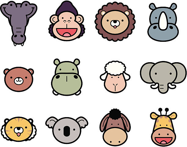 Icon Set: Cute Zoo Animals in color vector art illustration
