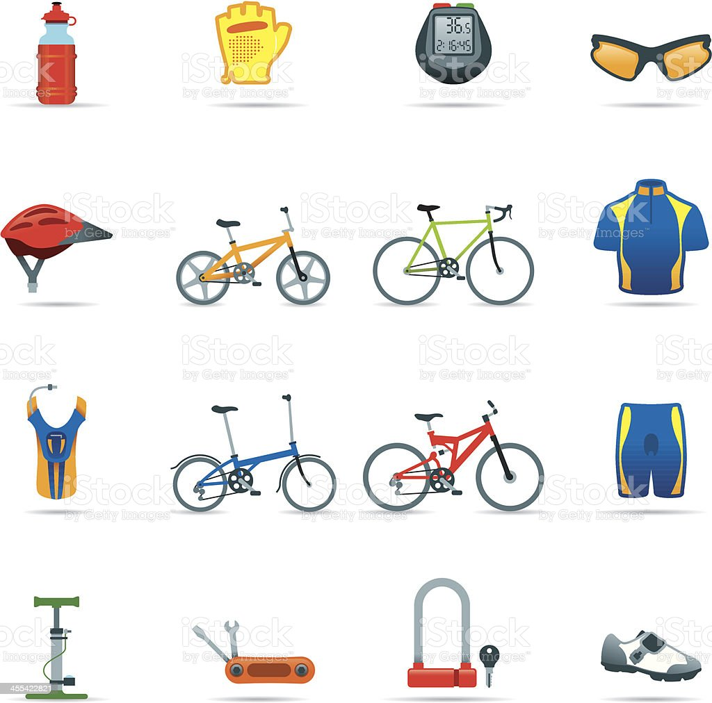 Icon Set, Cycling things Color vector art illustration