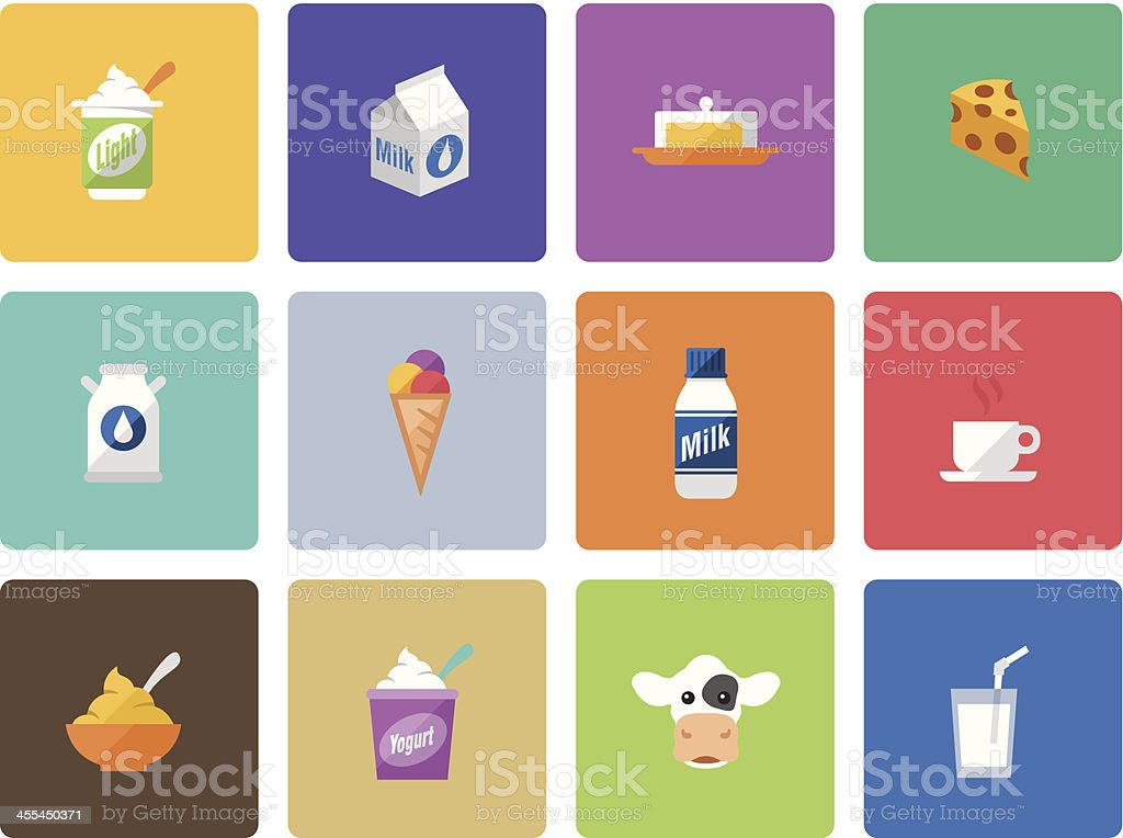 Icon Set, Dairy product Color