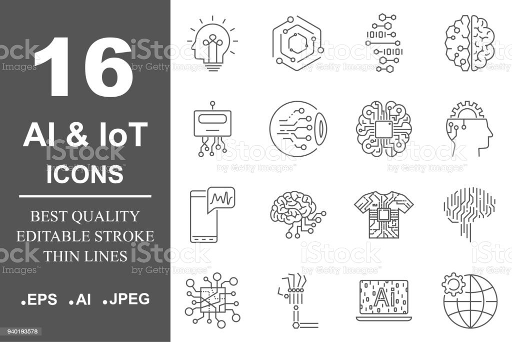 AI icon set. Data science technology, machine learning process. Data insight, transformation, scalable, modeling API. Editable Stroke vector art illustration