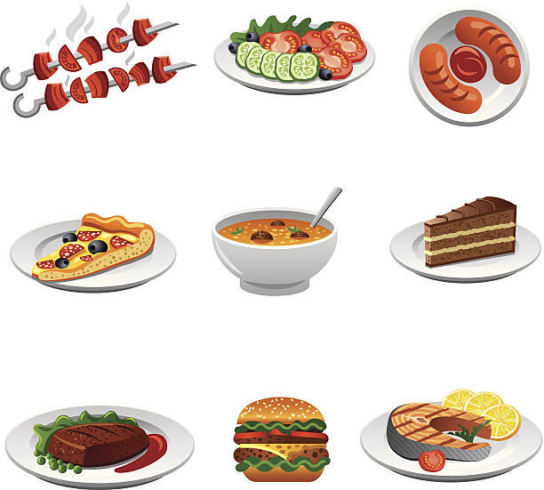icon-set für speisen - lachskuchen stock-grafiken, -clipart, -cartoons und -symbole