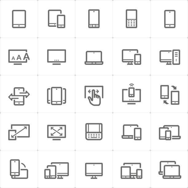 Icon set - device and responsive outline stroke vector illustration vector art illustration