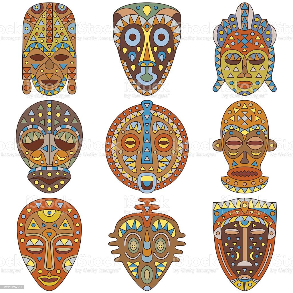 Icon set. Different ethnic masks. Vector illustration vector art illustration