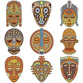 Icon set. Different ethnic masks. Vector illustration