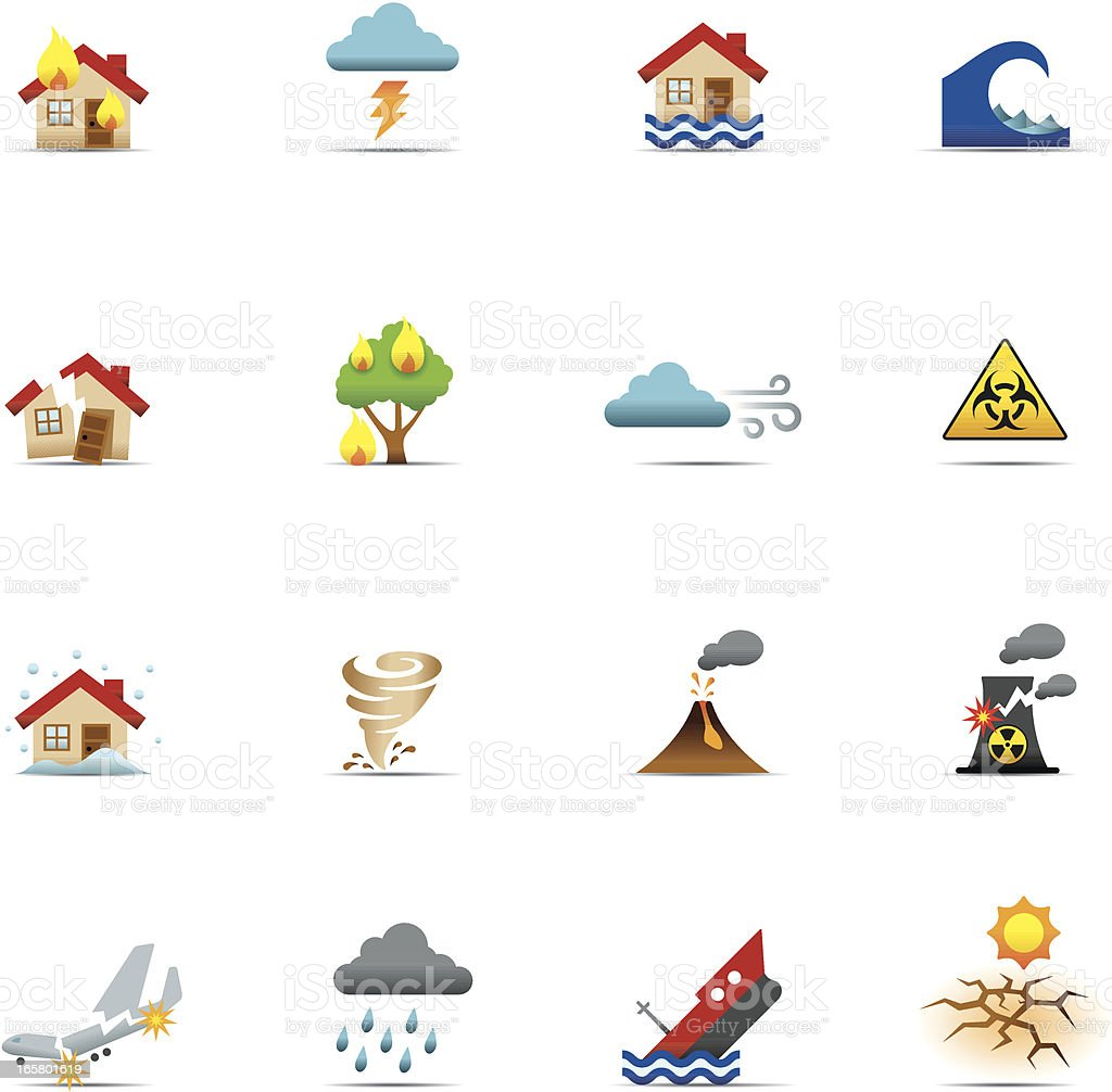 Icon Set, Disasters Color vector art illustration
