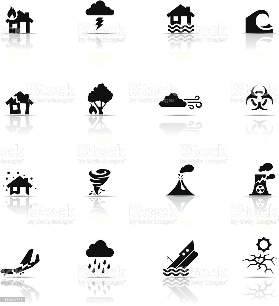 Icon Set, Disasters vector art illustration