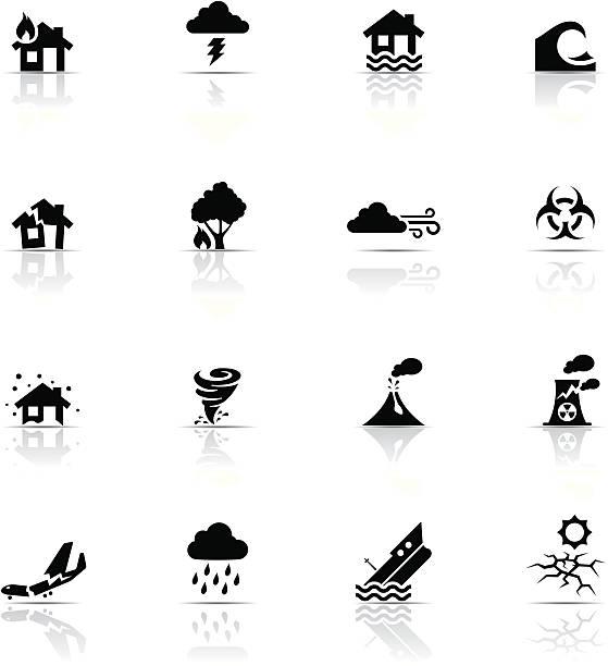набор иконок, бедствий - сила природы stock illustrations