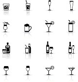 Icon Set, drinks and glasses on white background, made in adobe Illustrator (vector)