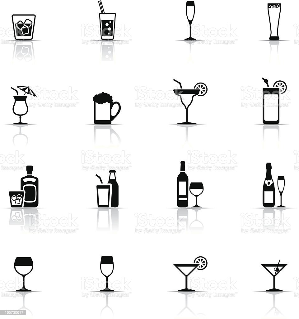 Icon Set, drinks and glasses vector art illustration