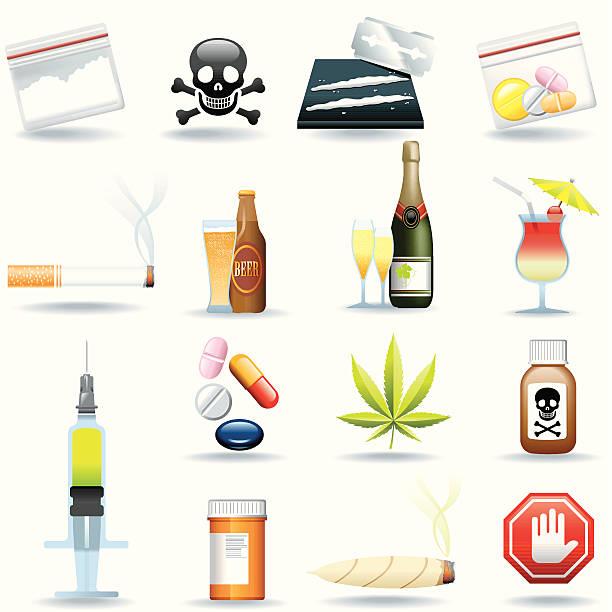 ilustrações de stock, clip art, desenhos animados e ícones de conjunto de ícones, fármacos e bebidas - narcótico