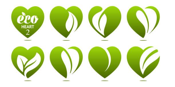 bildbanksillustrationer, clip art samt tecknat material och ikoner med ikonuppsättning. eco hjärta - recycling heart
