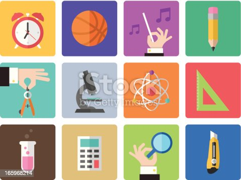 Icon Set, education things on white background, made it in adobe Illustrator (vector)