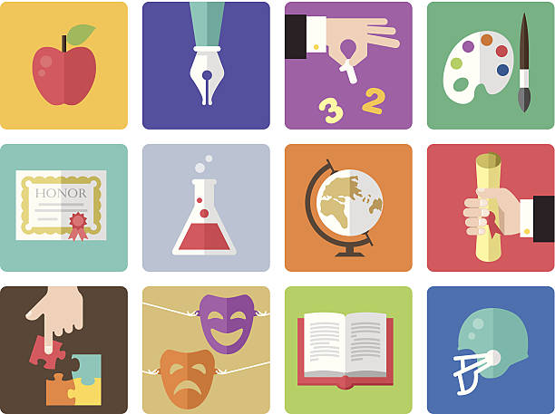 icon set, education color - high school sports stock illustrations