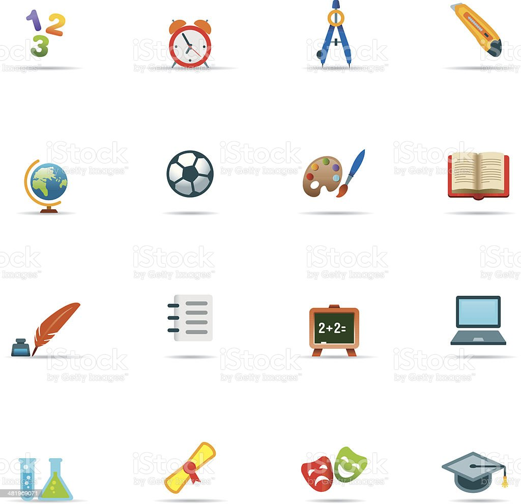 Icon Set, Education Color vector art illustration