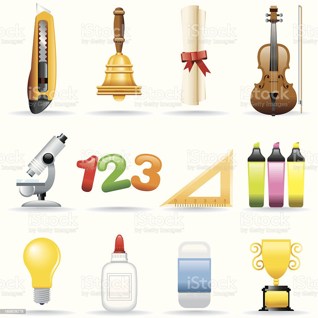 Icon Set, Education royalty-free icon set education stock vector art & more images of bell