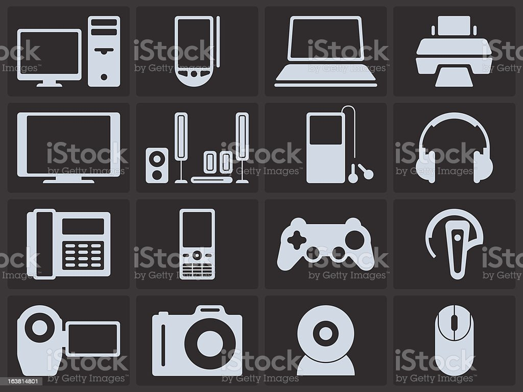 Icon Set - Electronics royalty-free icon set electronics stock vector art & more images of computer monitor