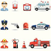 Icon Set, emergency services on white background, make in adobe Illustrator (vector)