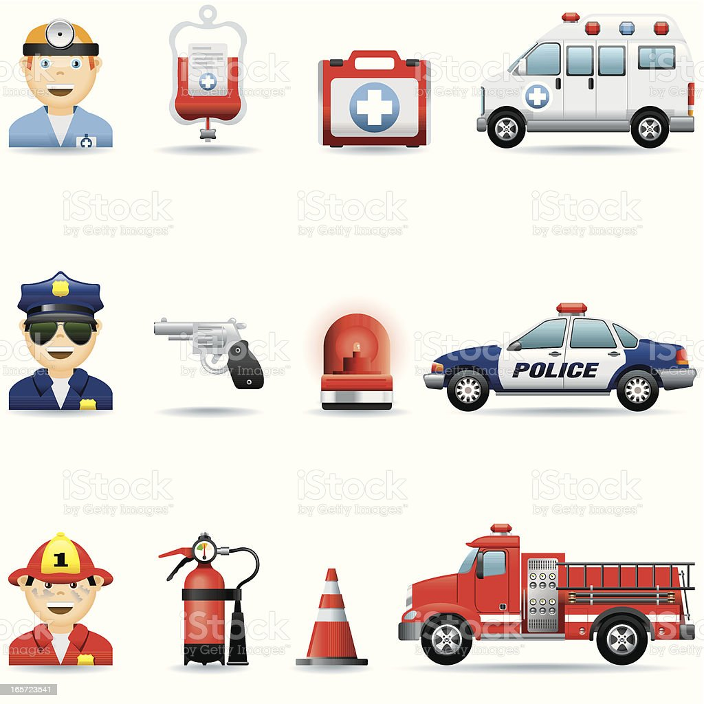 Icon set, Emergency services vector art illustration