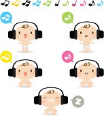 Cute style vector icons - Cute Baby listening to music.
