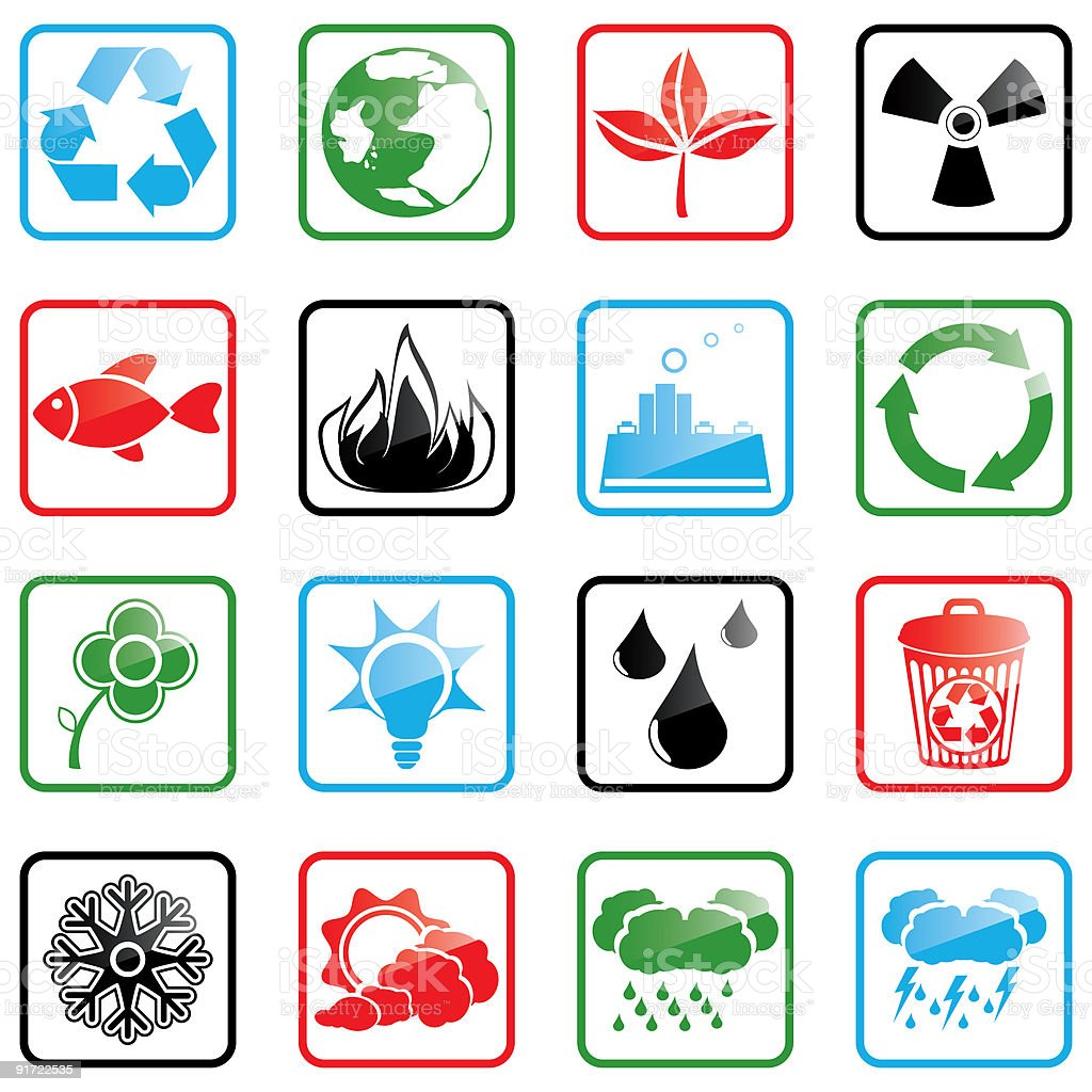 Icon set Environment royalty-free icon set environment stock vector art & more images of black color
