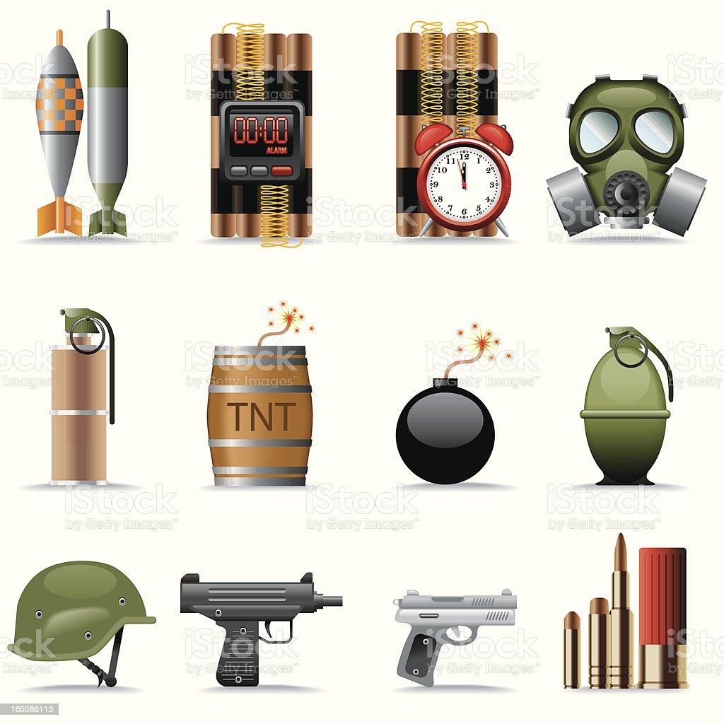 Icon Set, explosives and terrorism vector art illustration