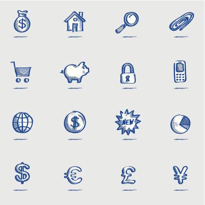 Icon set, Finance Sketch