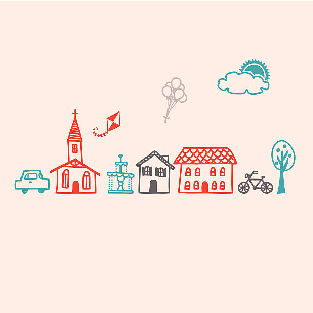 Icon set for a Small Village Town Use these stencil stamp icon set to create your own cozy small village / town! community drawings stock illustrations