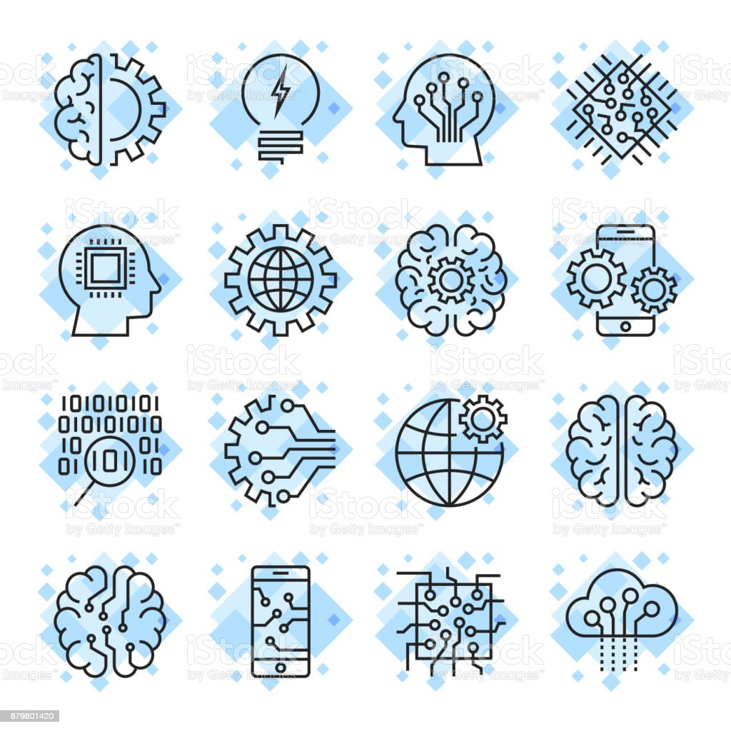 Icon set for artificial intelligence ai concept various symbols vector art illustration