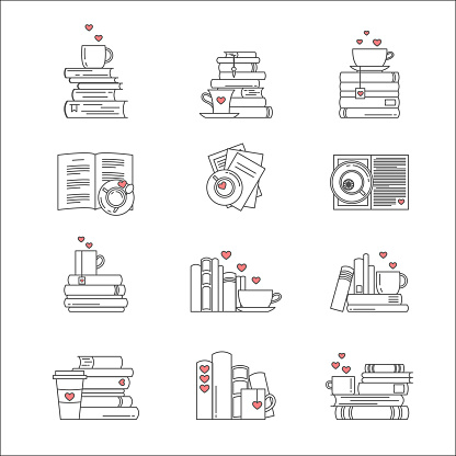 Icon set for book fans. Book stacks, coffee or tea mugs and paper cups. Heart elements as steam, tea tag or cookie. I love to read concept. Vector isolated, linear style.