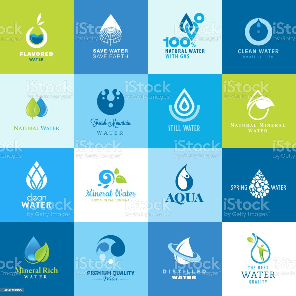 Icon set for different seals of approvals of water vector art illustration
