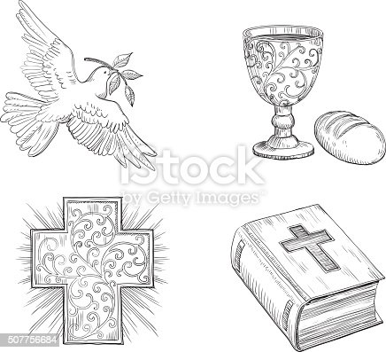 Icon set of Dove with olive branch, Religious cross, Bread,  gold Chalice with Wine and  Bible  at doddle style.