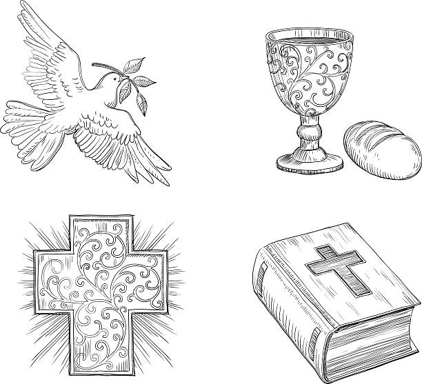 icon set for easter - communion stock illustrations, clip art, cartoons, & icons